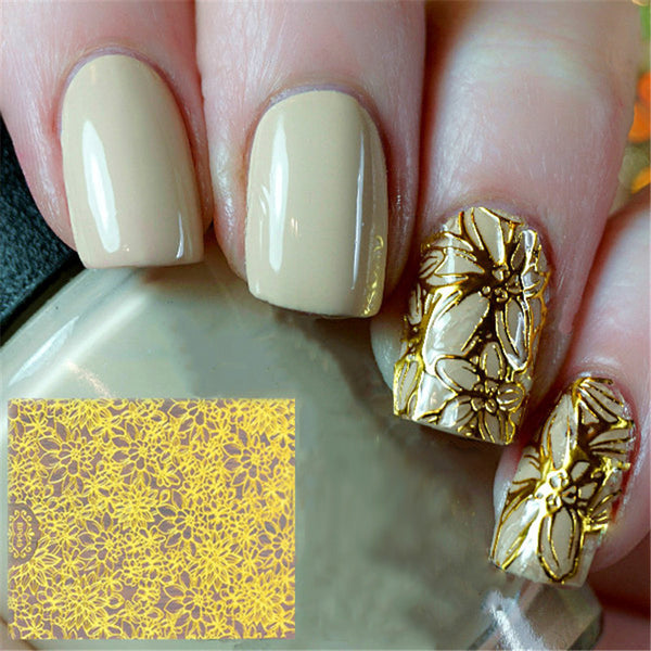 1 Sheet Embossed 3D Nail Stickers Blooming Flower 3D Nail Art Stickers Decals #BP049 # 24910