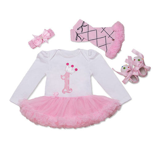 1 st Girls Bodysuit Baby Girl Clothes Baptism Dresses Pink Long Sleeve Dress baby body Clothing Tutu Clothes 4pcs set