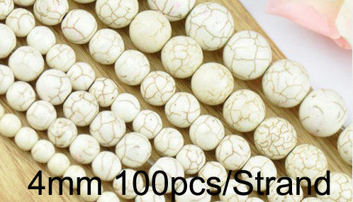 1 strand pack 4 6 8 10 12mm White Round-brilliant Turquoise Beads Jewelry Findings Bracelet Accessories For DIY Jewelry Making
