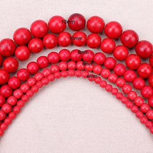 1 strand pack 4 6 8 10 12mm Dia Red Round-brilliant Turquoise Beads Natural Stone Beads DIY Bracelet Necklace Making Craft