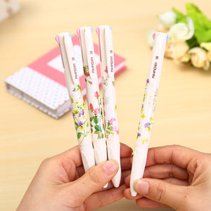 1 x 4 in 1 colored ballpoint pen floral pens kawaii stationery canetas material escolar office school supplies