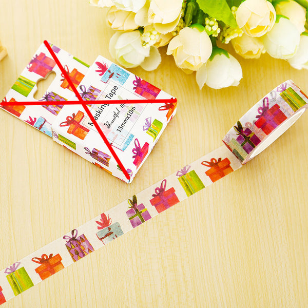 1 X Gift Box washi tape DIY decorative scrapbook planner masking tape adhesive tape stationery school supplies