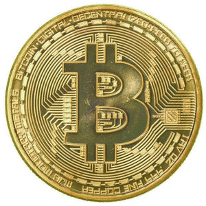 1 x Gold Plated Bitcoin Coin Collectible BTC Coin Art Collection Gift Physical Holiday Gifts Light Your Life