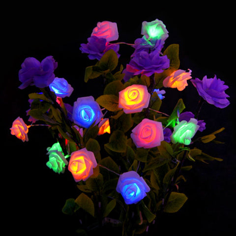 1.2M Rose Flower LED Bouquet String Lights Fashion Holiday Lighting Fairy Wedding Party Christmas Garden Decoration Lights