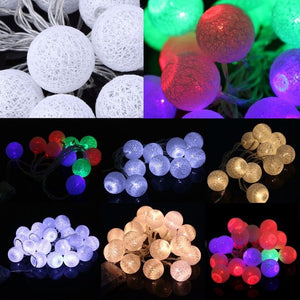 1.3M 2.3M 10 20 LED Cotton Ball Battery String Light Holiday Wedding Party Christmas Decor