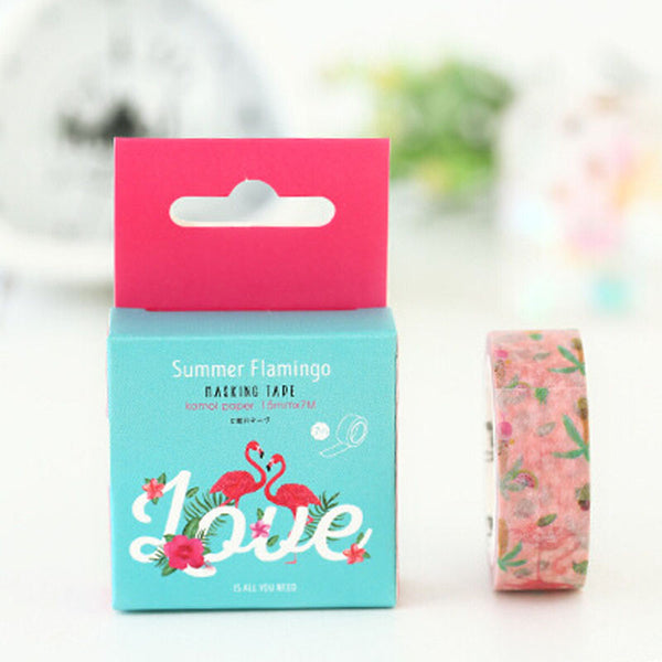 1.5cm Wide Flamingo Washi Tape DIY Scrapbooking Sticker Decorative Stick Label Masking Tape School Office Supply