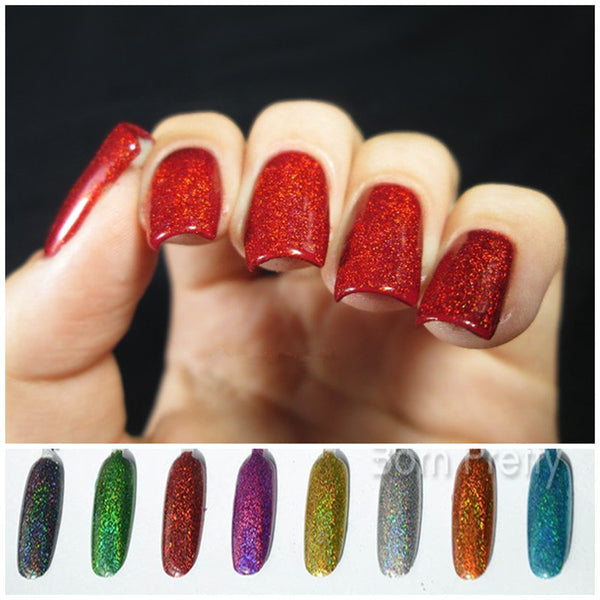 1.5g bottle Holographic Laser Nail Glitter Powder Rainbow Color Shiny Nail Glitters Manicure Chrome Pigments Holographic Glitter