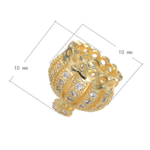 10*10MM Newest Crown Shape Micro Pave Zircon Beads Brass Metal Jewelry Accessory For Bracelets
