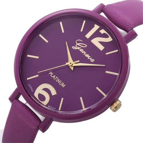 10 Color Clock Waterproof Geneva Fashion Simple Watches Women Leather Quartz Wrist Watch Ladies Dress Hour relogio feminino