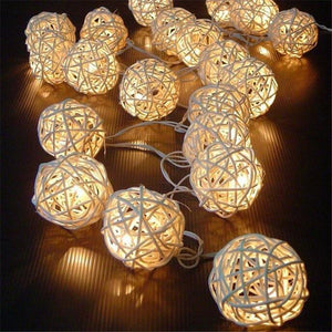 10 Latterns LED 1.5M Funlife Wedding Party String Lights Hand Weaved Rattan String Ball Lantern Xmas Ball Free shipping