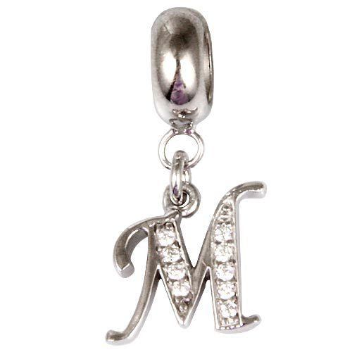 "100% 925 sterling silver alphabet Beads letter pendant charm ""D--Y"" jewelry with cubic zirconia Fits for pandora bracelet SR2657"