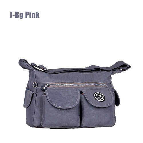 J-bg Pink Cartoon Printing Solid Nylon Handbags Women 001