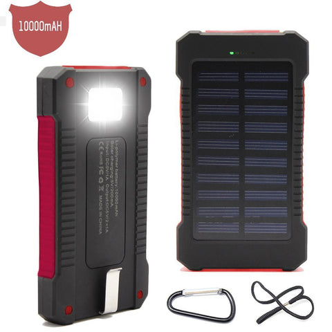 10000mah Waterproof Solar Powerbank with LED external battery cargador solar Portable Charger for iphone5 6s xiaomi mi5