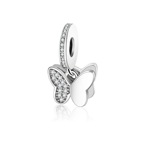 100% 925 Sterling Silver Beads Fluttering Butterflies Pendant Charm Fit Original Pandora Charms Bracelet Neacklace DIY Jewelry