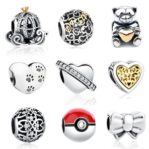 100% 925 Sterling Silver European Pumpkin Car Paw Print Heart Charms Fit Pandora Bracelet Necklace Original Jewelry Accessories