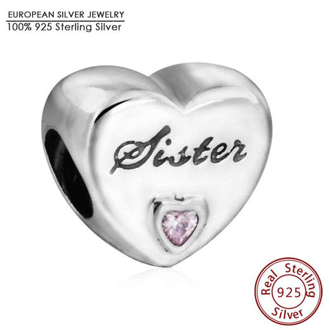 100% Authentic 925 Sterling Silver Pink CZ Sister Love Heart Charm Beads Fit Pandora Bracelet Pendants DIY Original Jewelry Gift
