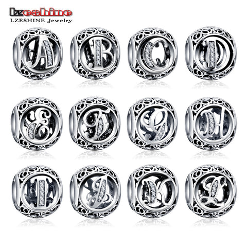 100% Authentic Sterling Silver 925 Crystal Alphabet Letter A-Z Bead Charm Fit Original Charm Bracelet By Free Register Shipping