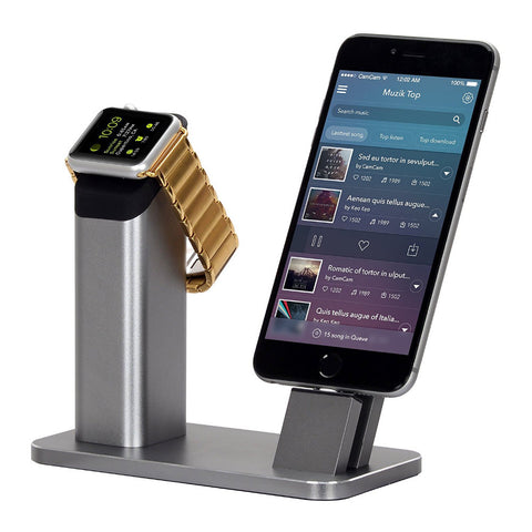 100% Brand New Aluminium Stand Holder Charging Dock Charger Station Mount Base For Apple Watch iPhone SE 5 5s 6 6S 7 PLUS
