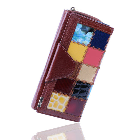 100% Genuine Leather wallets Women's Wallet Clutch Women Purse With Phone Pocket Panelled Patchwork Leather coin Purses Long bag