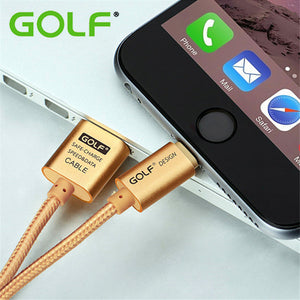 100% GOLF Metal Braided Durable Charge Cord USB Data Sync Charger Cable For iPhone 5 5s 5c 6 6s iPad 4 Air 2 Quick Charging Wire