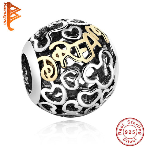 100% Original 925 sterling silver Round beads Gold Plated Mickey charms Fit Pandora bracelet DIY Jewelry Free shipping