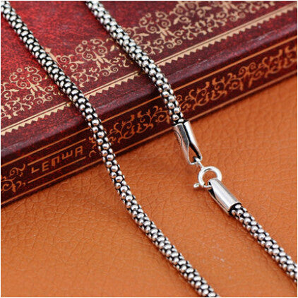 100% real pure 925 sterling silver necklace Women Men jewelry classic silver 925 Corn Chain New Fashion Necklace GYC01