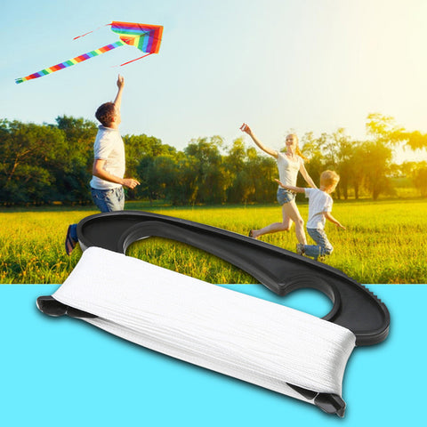 100M Flying Kite Line D Shape Plastic + Polyester White Color Line Board Flying Kite Line Flying Tools