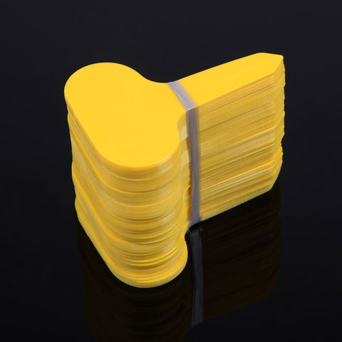 100Pcs 6.8*4.8cm T-type Plastic Nursery Garden Plant Label Mark Flower Thick Tag Garden Ornaments Yellow