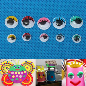 100pcs 8mm 12mm Eyelashes Wiggly Wobbly Googly Eyes For DIY Craft Decoration Doll Toys Colorful Movable Eye Dolls Accessories