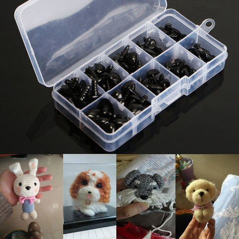 100pcs box 8 9 11 13.5 15mm Mini Black Plastic Safety Nose Triangle For Doll Teddy Stuffed Animals Toys Dolls Accessories