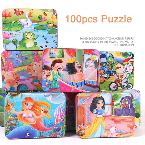 100Pcs cartoon puzzle iron box wooden jigsaw puzzles children early education wood toy free shipping