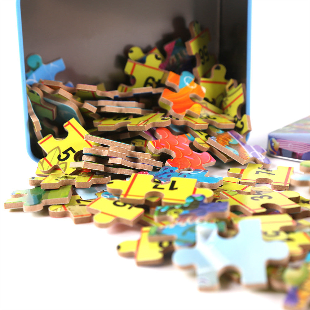 100Pcs cartoon puzzle iron box wooden jigsaw puzzles children early