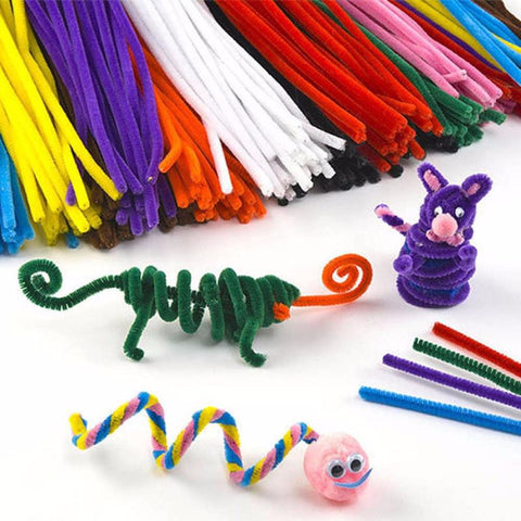 100PCS Multicolor baby educational toys DIY toy handmade art Toy materials shilly-stick Plush Stick toys for Children