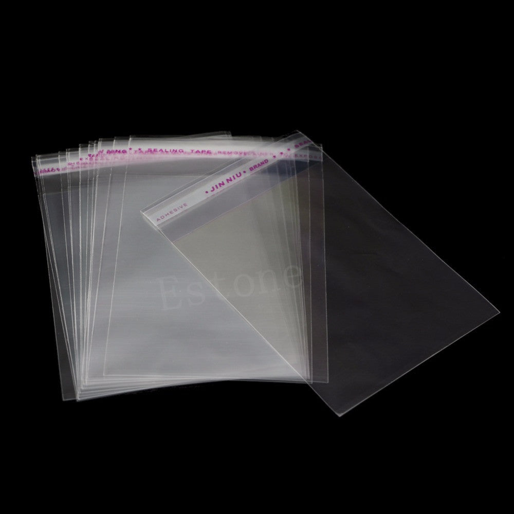 "100pcs OPP Self Adhesive Plastic Bag CLEAR Jewelry Packaging 8cmx12cm 3.1""x4.7"""