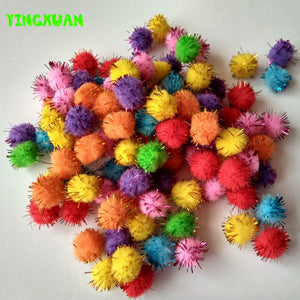 100pcs pack 15mm Multicolor Glitter Pompoms pom-pom Kindergarden DIY handicraft Materials for Creativity Educational Toys Kids