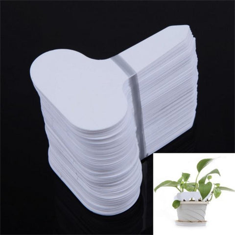 100Pcs T-type Garden Ornaments Plastic Nursery Garden Plant Label Flower Thick Tag Mark White For The Garden Free Shipping
