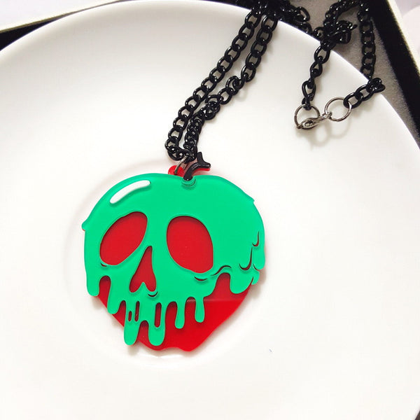 108N Kawaii Style Cool Green Apple Skeletion Acrylic Pendant Necklace