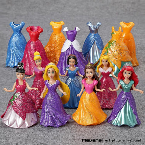 10CM 7pcs lot PVC Princess Cinderella Elsa Anna Action Figure Set Doll Dress Can Change Classic Toys Kids Toys For Girl