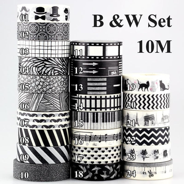 10m 1x Black and White Adhesive Tape Japanese Washi Tape Decorative Scotch Tape DIY Scrapbook Paper Photo Album Masking Tape Set