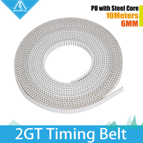 10M lot 3D Printer Accessory 2GT-6MM PU with steel core GT2 Open Timing Belt Width 6mm for 3DPrinter RepRap Prusa Mendel Rostock