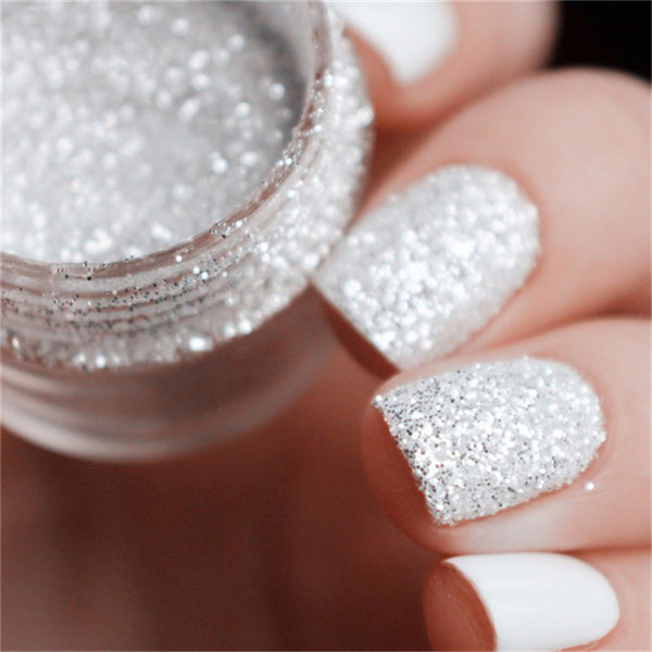 10ml Box Nail Glitters Powder Nails Tips White Silver Powder Dust 1mm & 2mm & 3mm Mixed Manicure Nail Art Decorations