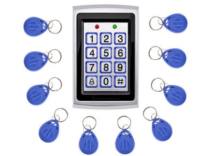 10Pcs Card Free +Metal Proximity RFID Card Door Entry Single Door Lock Waterproof Access Control System Keypad
