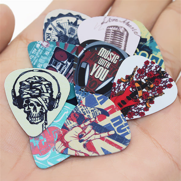 10pcs Lot 0.71mm thickness guitar strap guitar parts Singing Rock gestures music elements mixed pattern guitar picks