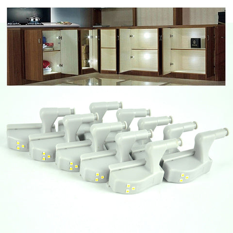 10pcs lot Universal Kitchen Bedroom Living Room Cabinet Cupboard Closet Wardrobe Hinge LED Night Lights White Warm System