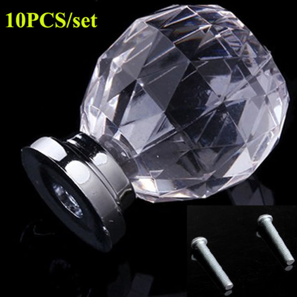 10PCS Set Diam 30mm Round Crystal Glass Ball Design Acrylic Handle Knobs Alloy Door Drawer Cabinet Wardrobe Pull Drop Shipping