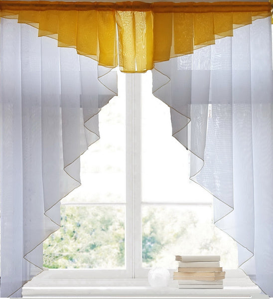 11 colors Fashion Pleated Design Stitching Colors Tulle Balcony Kitchen Roman Curtain Blind 1pc