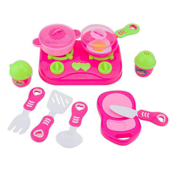11Pcs Pink Kids House children Kitchen Toys For Girls Cooking Food Dishes Cookware Pretend & Play Kitchen Playset toys