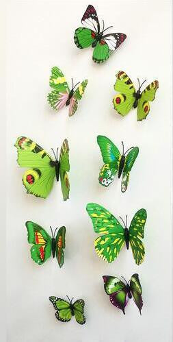 12 Pcs Lot PVC 3D Butterfly Wall Stickers Decals Home Decor Poster ...