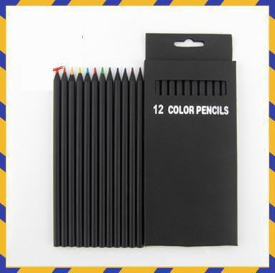 12 Pcs Set Valued Color Pencil Packaging 12 Different Colours Colored Pencils Kawaii School Black Wooden Pencils High Quality