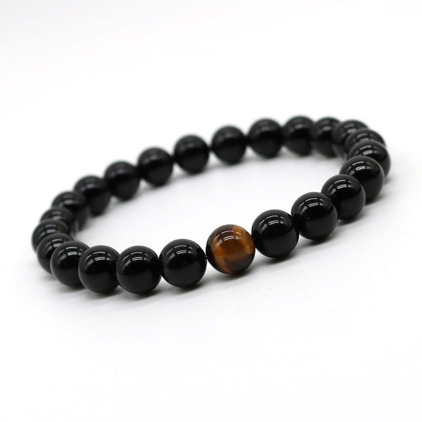 12 Constellation Natural Black Onyx Agate with Tiger eye Stone Beads Men Bracelet Leo Lovers Energy Strand Bracelets H-2